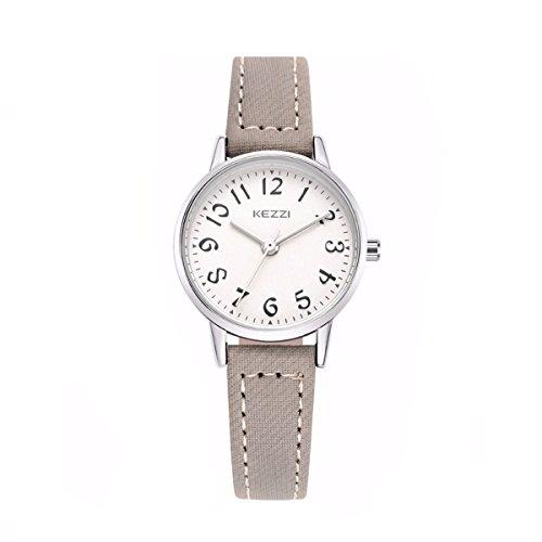 Relojes Mujer de Cuero Gris Sencillo Relojes Números Arábigos Moda