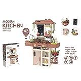 ATAA Cocina Modern Kitchen 42 Accesorios Cocina de Juguete para niños con Bomba de Agua y Vapor Real