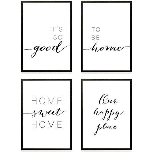 Heimlich ® Premium Poster Set | Stilvolles Set mit passenden Bilder in Schwarz-Weiß | 4 Stück in DIN A4 (21x30cm) | Ohne Bilderrahmen » Home «