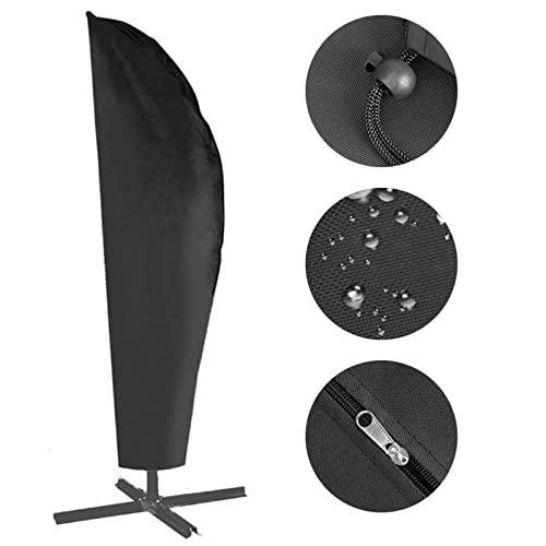 Herefun Copertura per ombrellone, 265CM 420D Telo Copri ombrellone per Ombrellone Impermeabile Copertura Parasole da Giardino Copertura Oxford Impermeabile con Cordicella in Basso - Nero