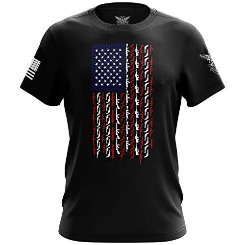 We The People Holsters - American Flag in Guns - Patriotic Colors - American Gun Shirt - Short Sleeve T Shirt - Gun Enthusiast Shirt - American Flag Patriotic Shirt - Black - XL