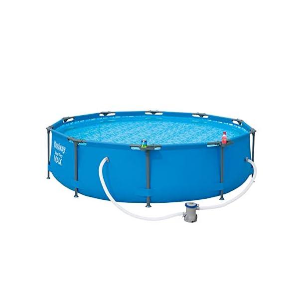Bestway Steel Pro MAX – Piscina Redonda con Marco de Acero y Bomba de Filtro, 305 x 305 x 76 cm, Color Azul