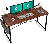 Cubiker Computer Desk 55 inch Home Office Writing Study Desk, Modern Simple Style Laptop Table with Storage Bag, Walnut