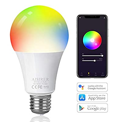 AISIRER Smart Bulb, 60 Watt Equivalent E26 Color Changing Light Bulb App Remote Control Smart LED Bulb Voice Control Compatible with Alexa, Google Home and Siri, No Hub Required, 2.4GHz WiFi, 1 Pack