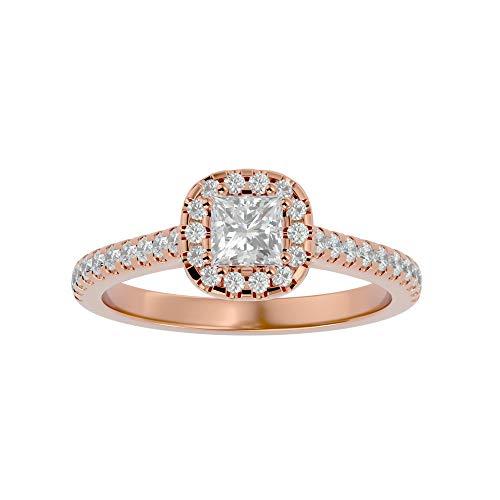 Anillo de oro de 18 quilates con diamante de moissanita de corte princesa (0,5 ct) de diamante natural de corte redondo (0,43 quilates) con anillo de compromiso de oro blanco/amarillo/rosa para mujer