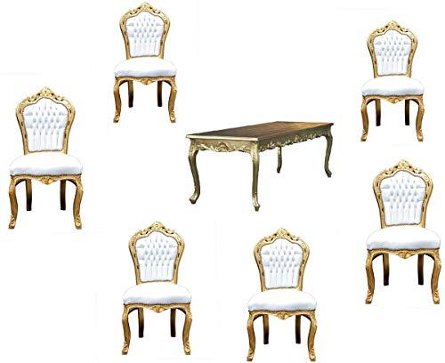 Casa Padrino Juego de Comedor Barroco Blanco/Dorado - Mesa de Comedor + 6 sillas sin reposabrazos