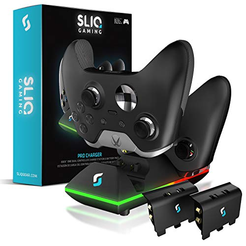 Sliq Xbox One/One X/One S Dual Controller Charger Charging Station and Battery Pack - Includes 2 Rechargeable Batteries - Also Compatible with Elite and PC Versions (Black)