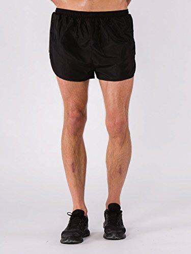 BODYCROSS Short Court de Running Homme Milan Noir avec Slip Intégré - Polyster - Ceinture Élastique avec Lacet de Resserage, Petite Poche Clés Intérieur sur Ceinture