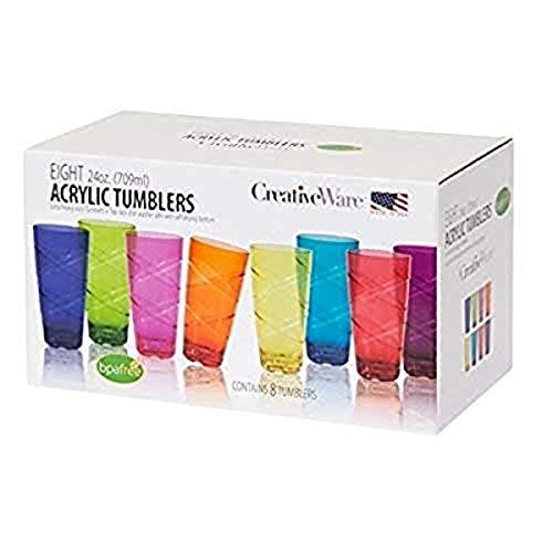 CreativeWare Circus Set of 8, 24 Ounces Tumbler Set, 24 oz, Multicolor