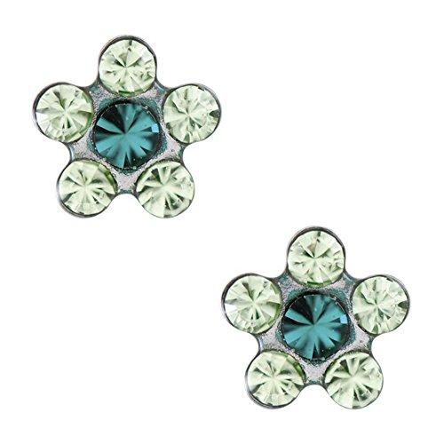 studex Tiny puntas de Peridot y cristal esmeralda 5mm Daisy Acero Inoxidable Childrens hipoalergénico pendientes de tuerca