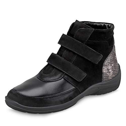 Waldläufer 312H81 001 400 Hesna-Soft Damen Sportiver Boots Nubukleder Weite H, Groesse 38 1/2, schwarz
