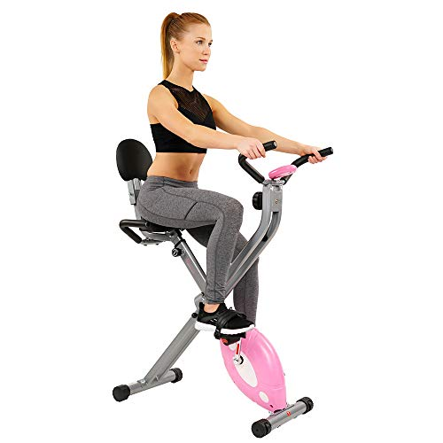 Sunny Health & Fitness Magnetic Folding Recumbent Exercise Bike Includes Digital Monitor, Cushioned Seat and Back and 220 lb Max Capacity - SF-RB1117