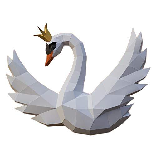 WLL-DP Corona Cisne Decoración De Pared Geométrica Modelo De Papel 3D Papel De Bricolaje Juguete De Papel Precortado Escultura De Papel Artesanal Rompecabezas De Origami Hecho A Mano