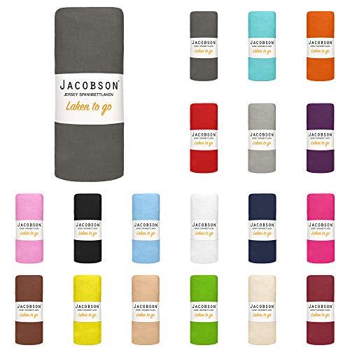 Jacobson Laken to GO Spannbettlaken Jersey Bettlaken Spannbetttuch 90x200 cm - 100x200 cm (Anthrazit)