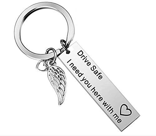 PGS Drive Safe I Need You Here with Me, New Driver Gift for Her Or Him, Trucker Husband Boyfriend Best Friend Keychain Gifts
