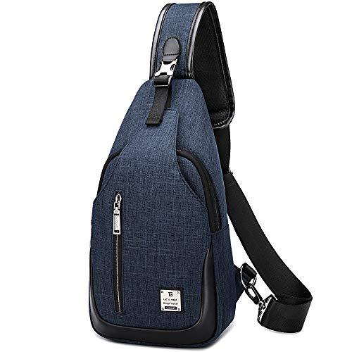 Preisvergleich Produktbild HASAGEI Brusttasche Sling Bag Schultertasche für Damen und Herren Crossbody Bag Umhängetasche Rucksack (Blau,  S)