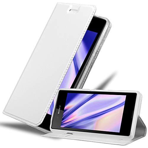 Cadorabo Hülle für Sony Xperia E3 - Hülle in Silber – Handyhülle mit Standfunktion & Kartenfach im Metallic Erscheinungsbild - Hülle Cover Schutzhülle Etui Tasche Book Klapp Style