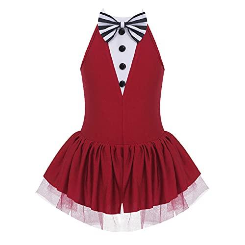 iiniim Maillot Vestido de Danza Ballet Lentejuelas para Nia Body de Baile Fiesta sin Mangas Tut de Danza Brillante sin Hombros Disfraz Bailarina Elegante Borgoa 6 aos
