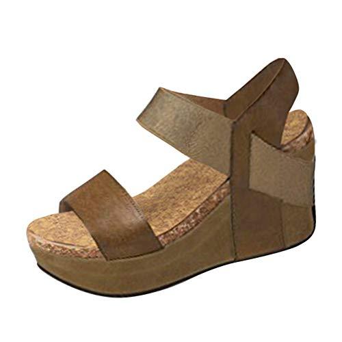 Minetom Femme Mode Sandale Espadrille Lanière Cheville Sandale Talon Compensé Plateforme Femme Été Mode Sandale A Beige EU 41