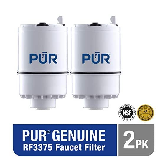 PUR RF3375 Water Filter Replacement for Faucet Filtration Systems, 2 Pack, Multicolor 2 PUR BASIC WATER FILTER REPLACEMENT: PUR's genuine faucet filters are certified to reduce over 70 contaminants, including 99% of lead, so you know you are drinking cleaner, great-tasting water FAUCET WATER FILTER: PUR faucet filters provide 100 gallons of filtered water, or 2-3 months of typical use, before you need a replacement. Only PUR faucet filters are certified to reduce contaminants in PUR faucet filter systems WHY FILTER WATER? Home tap water may look clean, but may contain potentially harmful pollutants & contaminants picked up on its journey through old pipes. PUR water filters, faucet filtration systems & water filter pitchers reduce these contaminants