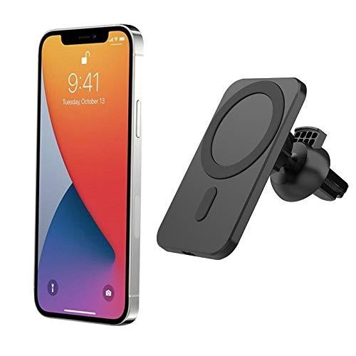 Remifa Auto-Ladegerät, Auto-Ladegerät mit MagSafe, geeignet für iPhone 12/12 Pro / 12 Mini / 12 Pro Max 15W magnetisches schnelles kabelloses Laden (Schwarz)