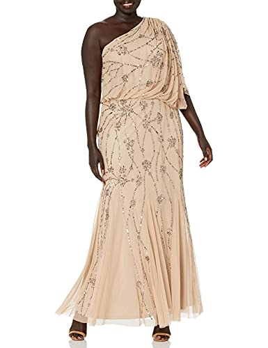 Adrianna Papell Women's Plus-Size One Shoulder Blouson Gown, Nude, 16
