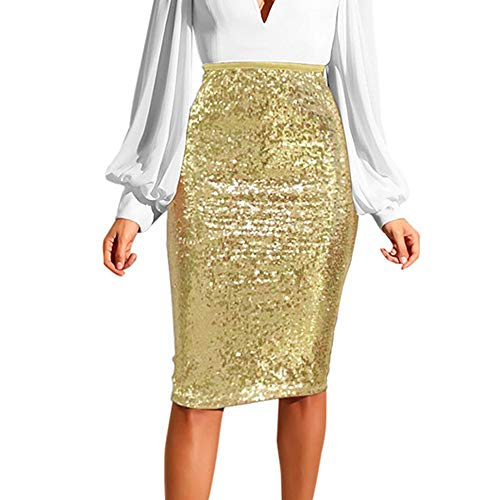 WOCACHI Womens Sequin Slim High Waist Push up Hip Pencil Zipper Skirt Bodycon Bodysuit Skirts Fashion Solid Spring Summer 2020 Under 5 Dollars Deals Night Club Mini Dresses