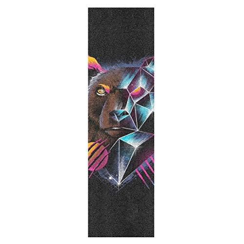 Oso Abstracto Negro Digital Monopatín Papel de Lija Antideslizante Hoja Cinta de Agarre Lijas para Patineta Scooter Etiquetas engomadas (84 x 23 cm)