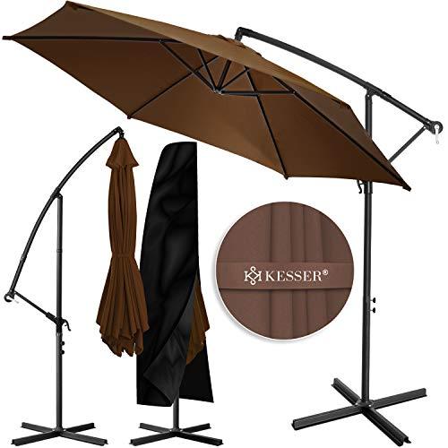 KESSER® Alu Ampelschirm Sonnenschirm Ø 350 cm mit Kurbelvorrichtung UV-Schutz Aluminium Wasserabweisende Bespannung - Schirm Gartenschirm Marktschirm Braun
