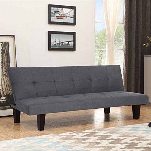 YORKING Fabric 3 Seater Sofa Bed Grey, Sofa Couch Faux Suede Fabric Sofabed for Lounge & Living Room & Office & Guest Room, Dark Grey, 169 * 76 * 85CM