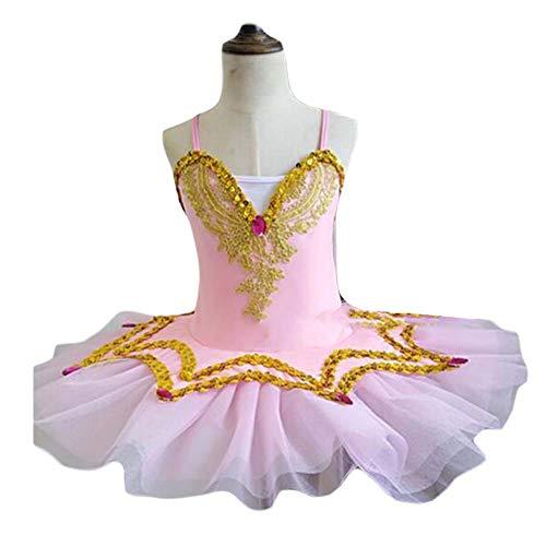 Panda Legends Abito da Balletto con Paillettes per Ragazze Costume da Ballo Swan Tutu Dress Abito da Balletto Rosa