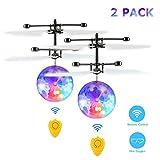 Fansteck 2 Pack RC Fliegender Ball mit Schuzbrille und Fernbedienung, LED Flying Ball mit Handsensor Infrarot Mini Hubschrauber Fliegendes Spielzeug, für Kinder und Erwachsene
