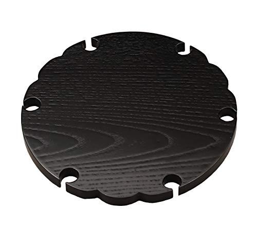 中村湖彩(Nakamura Kosai) 敷板 黒 サイズ:直径22.8x厚さ1.5cm 雪輪板 掻合 江戸千家好写