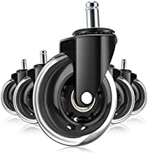 Office Chair Wheels – 5 pcs Chair Casters - Wheels for Office Chairs – Durable and Sturdy Bearings – Polyurethane Coating for Smooth and Silent Rolling – All Floor Types – Universal Design