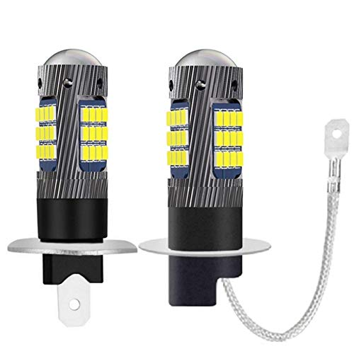 ShawnBlue Ligero 2 unids H1 H3 High Tono LED Lámparas antiniebla Delantera H27W Anti-Fog Bulbs Auto Driving Running Easy Foglamps 6000K Super White 12V (Socket Type : H1)