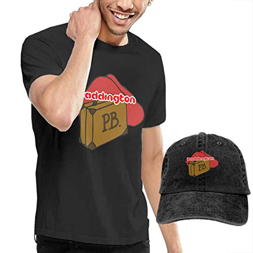HHTCZ Tシャツ+キャップ(2点セット) メンズ 半袖シャツ カットソー 帽子 野球 くまのパディントン 野球帽 夏 吸汗 おしゃれ 丸首 トップス ランニング UVカット 紫外線対策 ゆったり 快適 カジュアル 大きいサイズ XL
