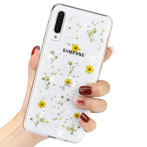 LCHULLE For Samsung Galaxy A20/A30 Flower Floral Case with Yellow Pressed Dry Real Flowers For Girls Women Glitter Shiny Clear Soft Flexible TPU Shockproof Case Cover For Samsung Galaxy A20/A30,Yellow