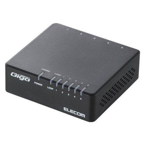 エレコム スイッチングハブ ギガビット 5ポート マグネット付き AC電源 EHC-G05PA-JB-K