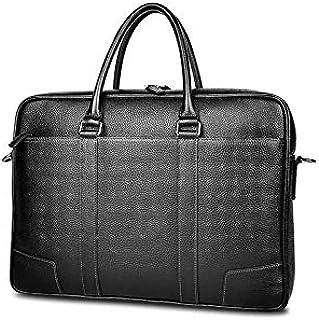 Heshaodestbns حقيبة رسول للرجال، حقيبة جلد للرجال حقيبة كتف للكمبيوتر المحمول، حقيبة يد من جلد البقر الأعمال