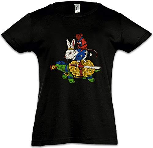 Urban Backwoods Animal Fighters Camiseta para Niñas Chicas niños T-Shirt Negro Talla 10 Años