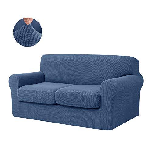 CHUN YI Stretch Sofa Slipcover Separate Cushion Couch Cover, Armchair Loveseat Replacement Coat for Ektorp Universal Sleeper, Checks Spandex Jacquard Fabric (Medium,Denim Blue)