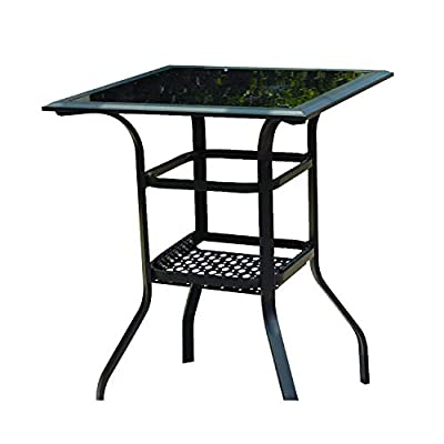 LOKATSE HOME Square 2-Tier Side Tea Small Patio Table, Tempered Glass Top Outdoor Bar Table with Storage, Glassed Bar Height Tall Bistro Table