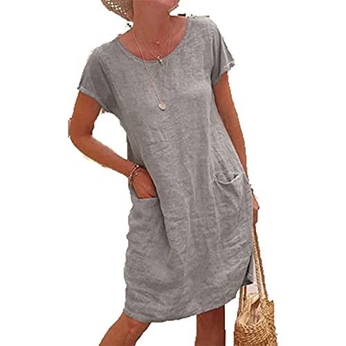 Sommerkleid Damen Casual Lose Kurzarm T-Shirt Kleid Knielang Leinenkleid Freizeitkleid Tunika Einfarbig Elegant Swing Kleider mit Taschen