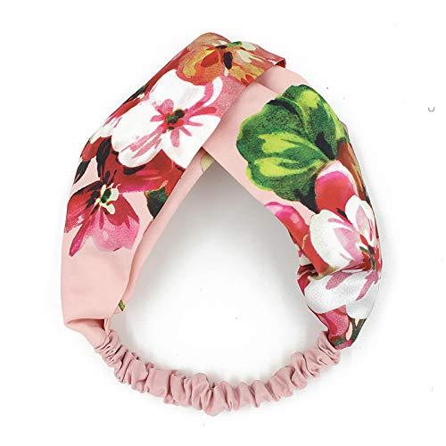 llv - Fascia per capelli in cotone e lino, motivo geranio, colore: Rosa