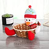 Christmas Wooden Bamboo Woven Candy Basket Fruit Basket, Snowman Santa Claus Elk Plush Doll Home Decoration, Large Capacity Storage Bucket Place Biscuit snacks, Holiday Gifts for Children