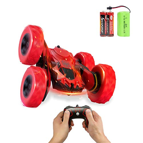 RC Car Remote Control Stunt Car, 4WD 2.4Ghz Remote Control Car Toy Double Sided Rotating Vehicles 360° Flips, Kids Toy Cars for Boys & Girls Birthday (Red)