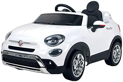 Babycar Fiat  - Coche eléctrico para niños, 500 x 12 V, puertas abatibles, con mando a distancia, 2,4 GHz, Soft Start Full Optional (blanco)
