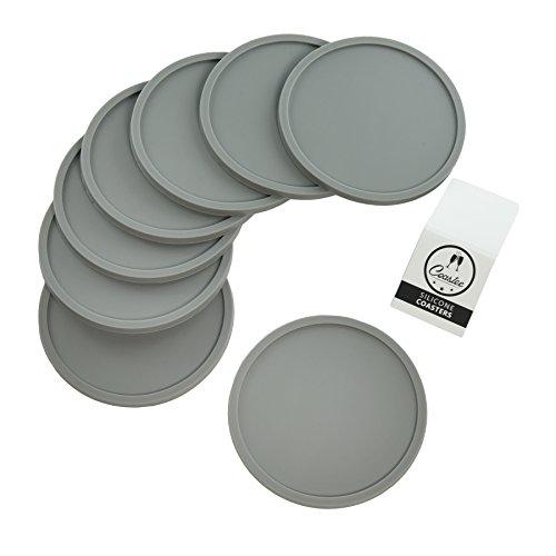 Coastee Silikon-Untersetzer - 8 Stück, grau, Glasuntersetzer-Set für Bar, Wohnzimmer, Küche