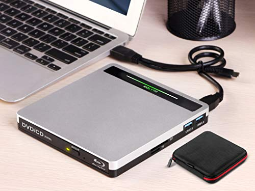 External Blu Ray Drive USB 3.0 Type-C 5 in 1 Blueray CD DVD Drive Player Burner for Laptop Mac PC MacBook Pro Air Windows 10 Desktop