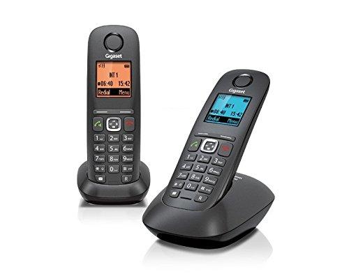 Gigaset A 540 Duo Telefono Cordless, Vivavoce, Chiamate tra Interni/Interfono, Rubrica Personalizzabile, Trasferimento di Chiamata, 2 Pezzi, Nero [Italia]